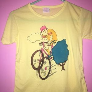 VINTAGE Youth XS Top Yellow Nylon one of a kind